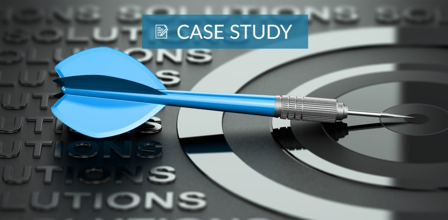 Case Study graphic with blue dart pointing to target.