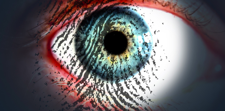 eye with fingerprint on it