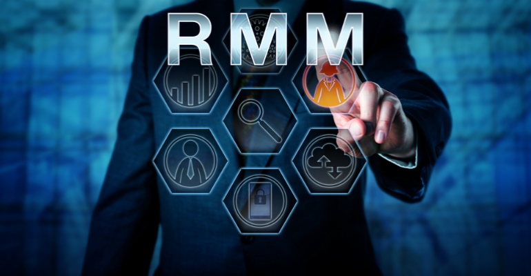 Man's silhouette behind a transparent cell graphic and the letters RMM
