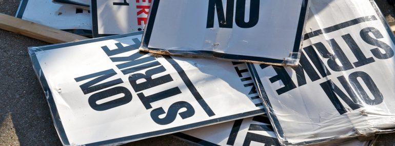 Picket sign for strike