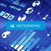 Infographic icon over blue background display of data visuals