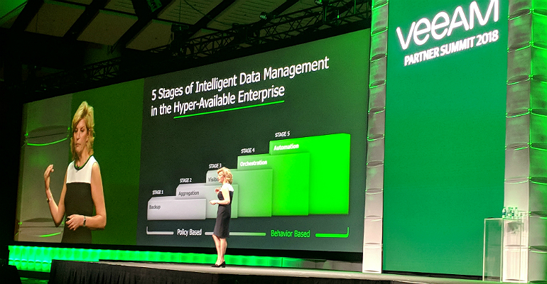 Veeam's Kate Hutchison at VeeamOn Partner Summit, Chicago, May 15, 2018