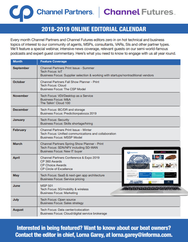 Channel Partners Channel Futures 2018-19 Editorial Calendar 3