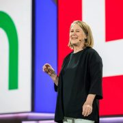 Google's Diane Greene on stage at Cloud Next '18, July 24.