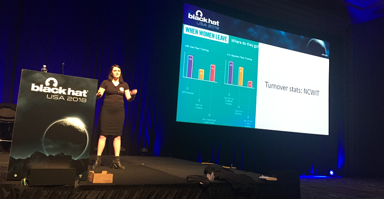 CrowdStrike's Ashley Holtz on stage at Black Hat USA 2018, Aug. 9.