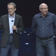 VMware's Pat Gelsinger and Ray O'Farrell on stage at VWworld 2018.