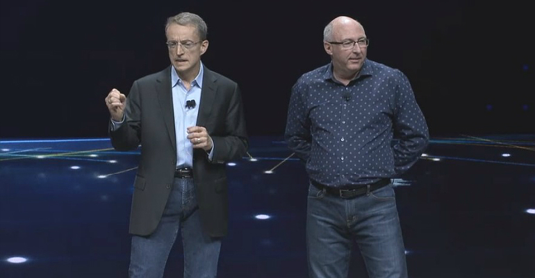 VMware's Pat Gelsinger and Ray O'Farrell on stage at VMworld 2018.