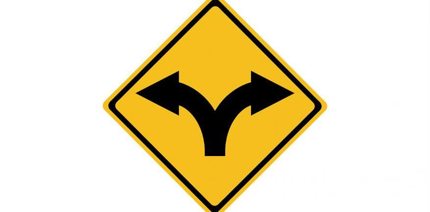 Split Road Sign