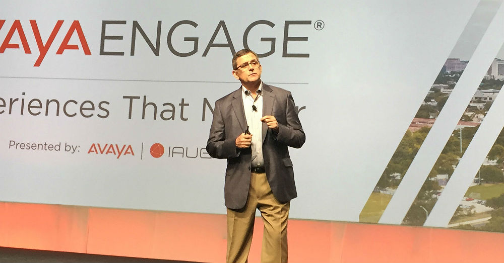Avaya CEO Jim Chirico on stage at Avaya Engage 2019 in Austin, Texas, Jan. 21