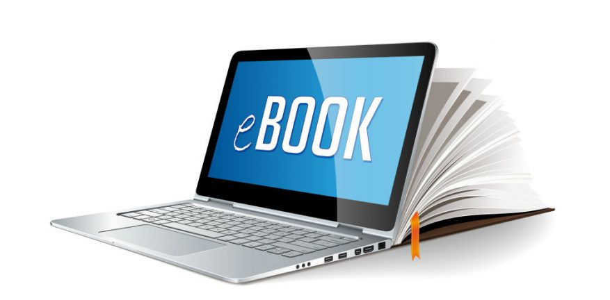 The word Ebook on a laptop