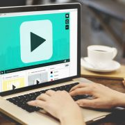 Video play button on laptop