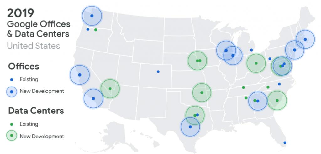 Google cloud data centers map