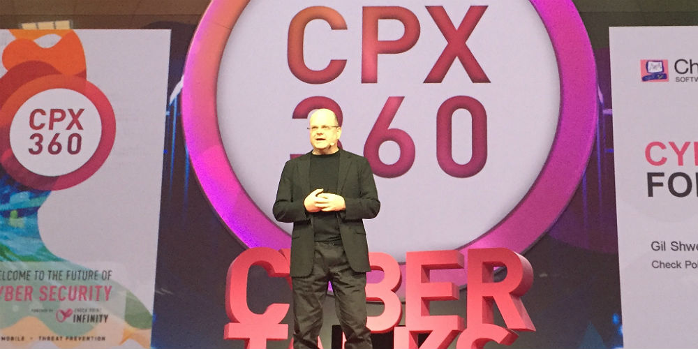 Check Point's Gil Shweb on stage at CPX360 2019.