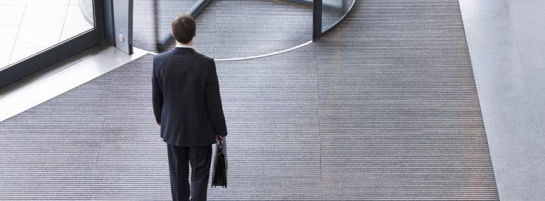 Businessman leaving