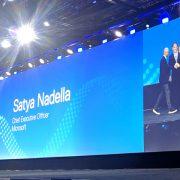 Nadella, Dell and Gelsinger on keynote stage 042919