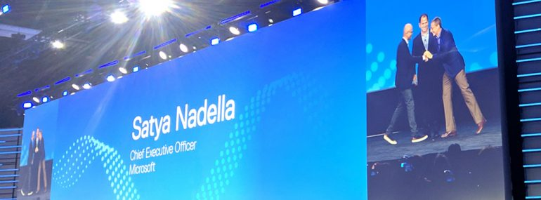 Nadella, Dell and Gelsinger on keynote stage 042919