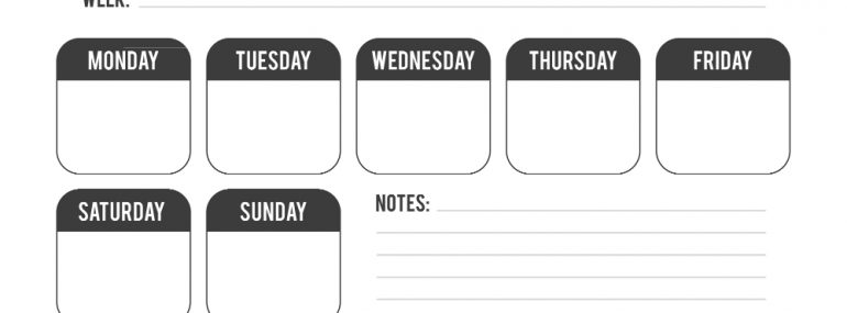 Weekly Calendar with Notes
