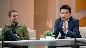 Slack CEO Stewart Butterfield (left) Zoom CEO Eric Yuan.