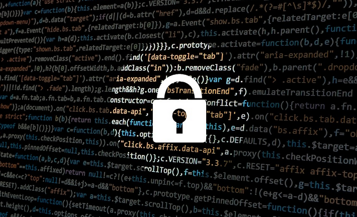 Graphic image of a lock over computer screen