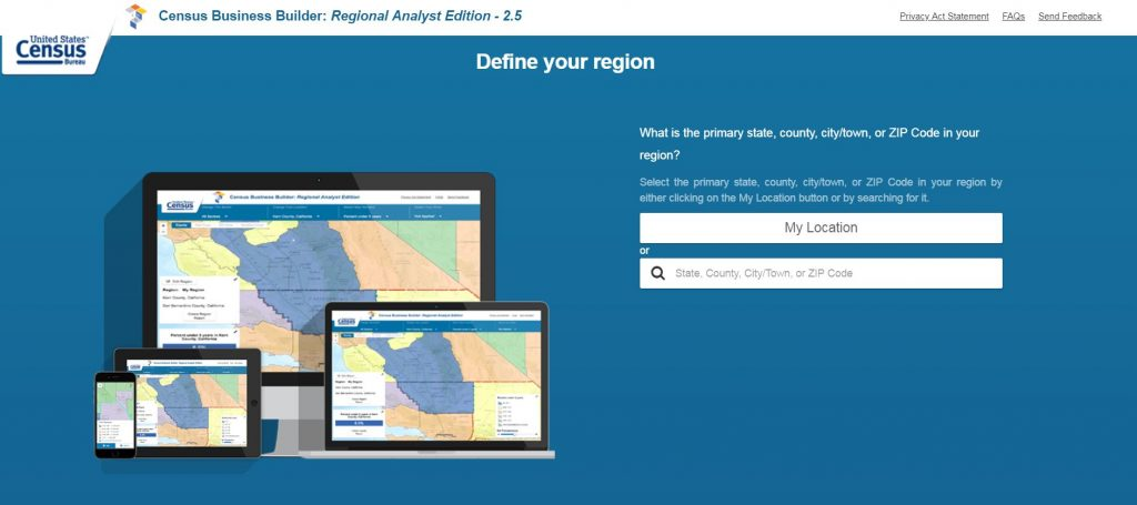 Screenshot Census Bureau Regional Analyst Edition Define Your Region