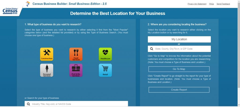Screenshot Census Bureau Small Business Edition Determine Best Location for your Business