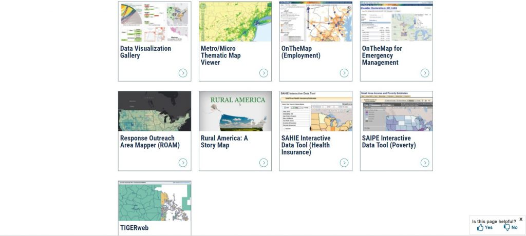 Screenshot Census Bureau interactive mapping tools in Geography Program