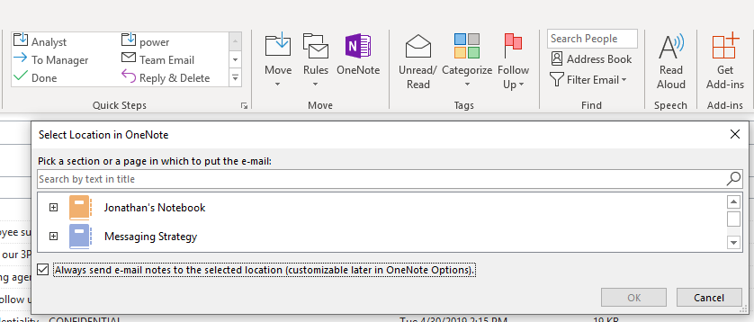 OneNote integration with Outlook