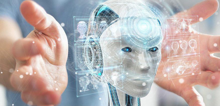 Artificial Intelligence Man Robot Face