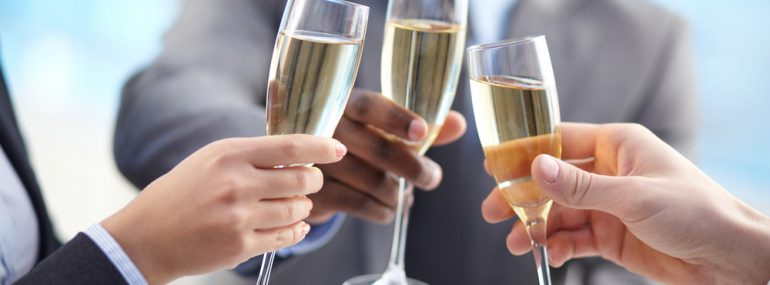 Business Celebration with Champagne Toast