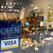Store with Open Sign Visa Sign