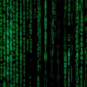 Green data cascading on screen