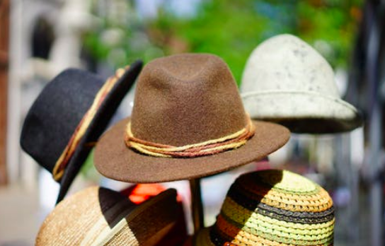 Close up of different hats