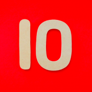 The number 10 on a red background