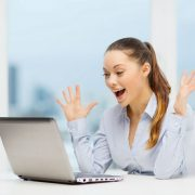 Woman Surprised at Computer