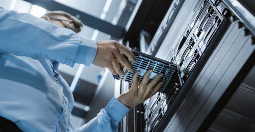 Man with storage in data center