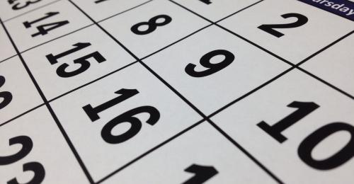 Closeup View of Calendar