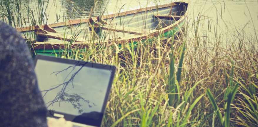 Person working on laptop near pond with canoe