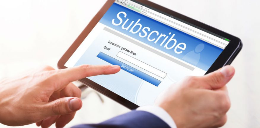 Subscribing to something on a digital tablet