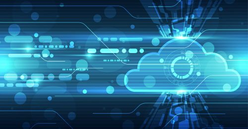 Data emerging from a cloud on a blue background.