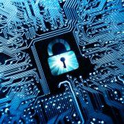 security lock symbol on computer circuit board