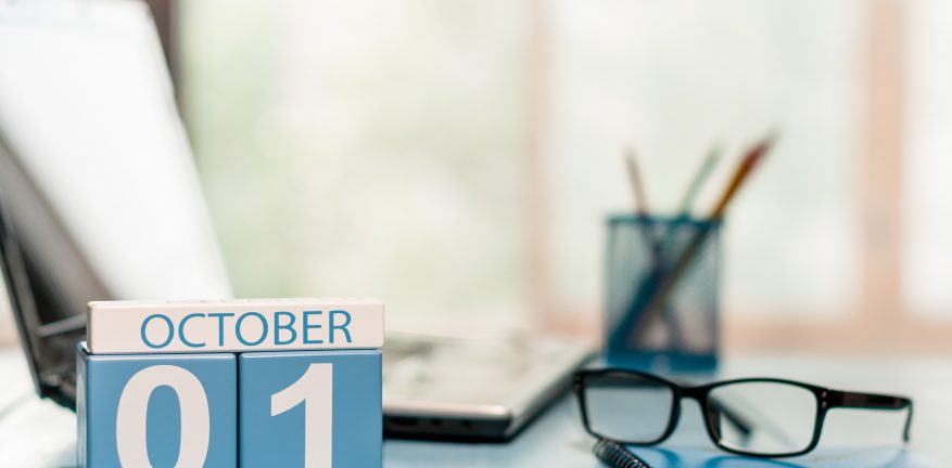 Month of October on a calendar
