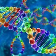 Illustration of rainbow DNA (deoxyribonucleic acid) with defocus on background