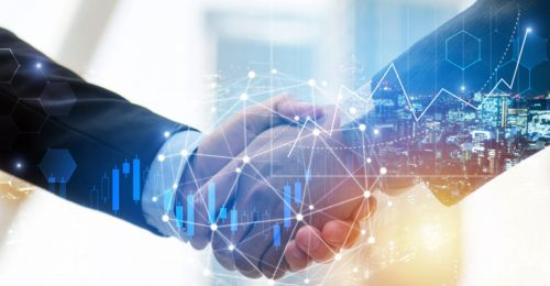 business man investor handshake with global network link connection and graph chart stock market diagram and city background, digital technology, internet communication, teamwork, partnership concept