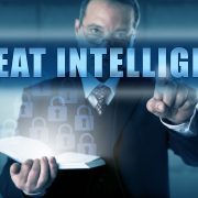 Man points to words threat intelligence
