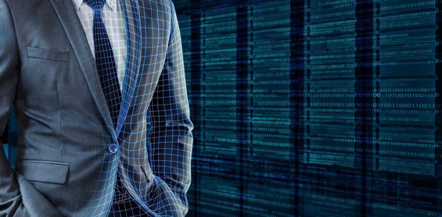 Man standing in virtual data center