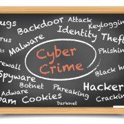 Words cyber crime circled on a blackboard