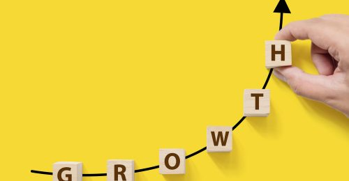 """Letters form """"growth"""" on an upward curve"""