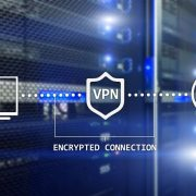 VPN shield on a digital background
