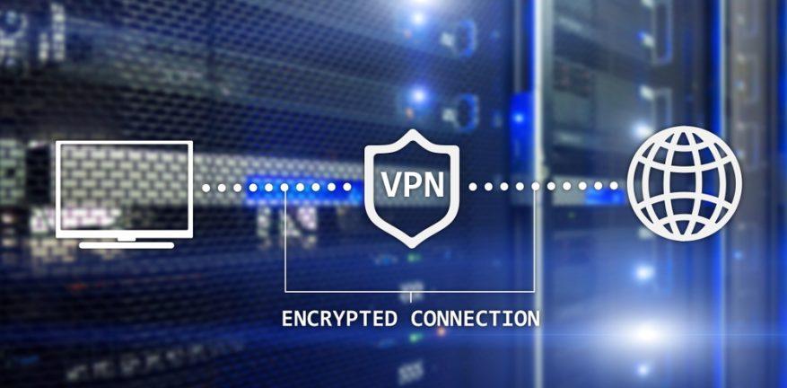 VPN shield on a digital background