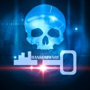 Ransomware skull and crossbones